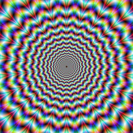 Psychedelische Chevron Ringen Digitaal abstract fractal afbeelding met een psychedelische chevron ring ontwerp in groen oranje blauw en rood de productie van de optische illusie van beweging Stockfoto