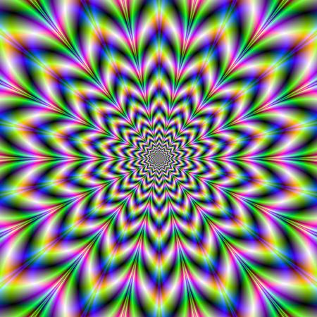 ???????????????? 26965082-num-rique-image-abstraite-de-fractale-avec-une-pointe-donnant-quatorze-conception-de-rosette-et-de-l