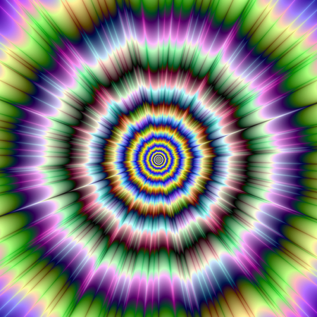 Digital abstract fractal image with a color explosion design giving the optical illusion of a flickering movement, in violet, green, yellow, blue and white  photo