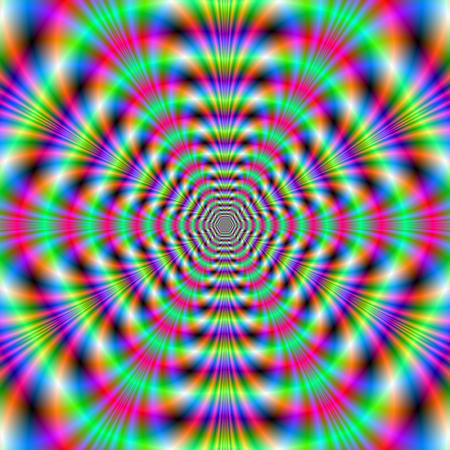 octagonal: Octogonal Anillos de ne�n Una imagen fractal abstracta digital con un dise�o de anillo octogonal verde, rosa y azul Foto de archivo