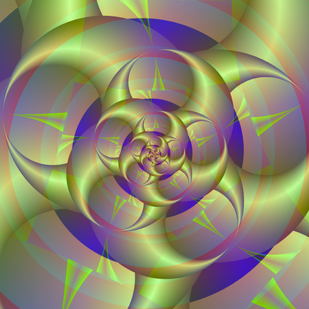 pincers: Spiral Pincers in Blue and Green   A digital abstract fractal image with a spiral of spinning pincers design in blue, mauve and green