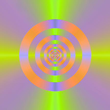 A digital abstract fractal pattern with a psychedelic cross hair target design in violet,green, blue and orange  photo