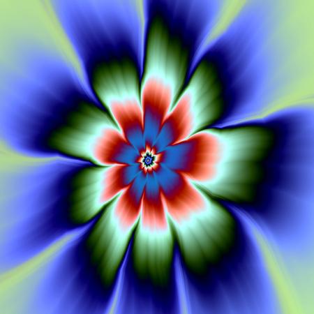 rust red: Una imagen fractal abstracta digital con un dise�o de flores de nueve p�talos de margarita en rojo azul, verde y moho azul verde y Rust flor de la margarita