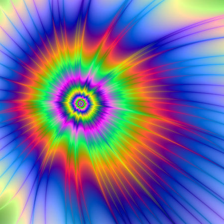 Tie Dye Fireball   A digital abstract fractal image with a tie dye design in blue, orange, green, pink and yellow  Zdjęcie Seryjne