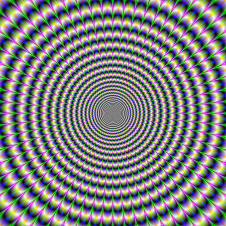 optical image: A digital abstract fractal image with an brain busting optical illusion circular design in green, blue, yellow and pink. Stock Photo