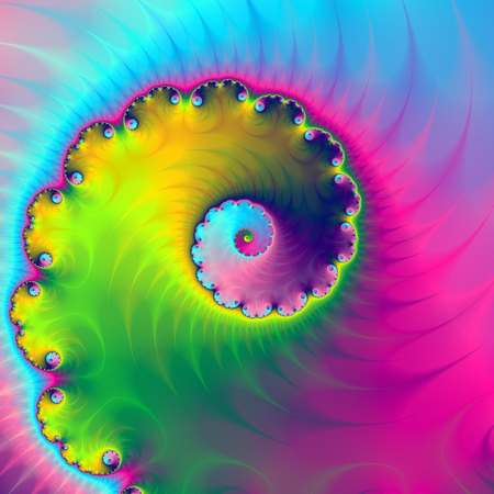 evocative: A digital abstract fractal image with a spiral design evocative of clothes tumbling in a washing machine in blue, pink, green and yellow.