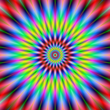 Wheel of color is a digital abstract fractal image with  a colorful circular design featuring radiating spokes in red, blue, yellow and green. Zdjęcie Seryjne