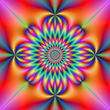 A digital abstract fractal image with a psychedelic rosette design in blue, orange, violet, red and turquoise.