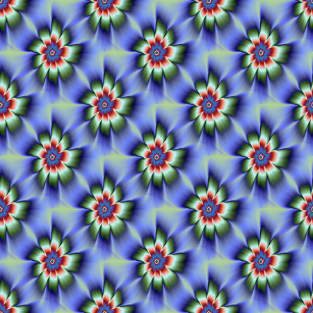 A digital abstract fractal image with a tiled, seamless nine petal daisy flower design in blue, green and rust red.