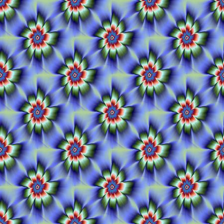 rust red: Una imagen fractal abstracta digital con un dise�o sin fisuras de flores de nueve p�talo de la margarita de azulejos en azul, verde y rojo �xido.