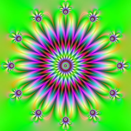 A digital abstract fractal image with a large flower and twelve small satallite flowers in green yellow and purple.