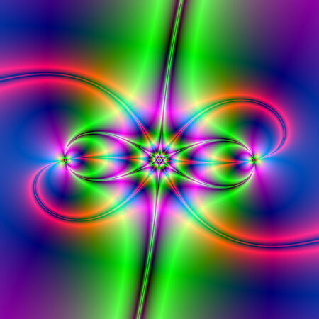 A digital abstract fractal image with a crab star design in green blue and pink. Zdjęcie Seryjne