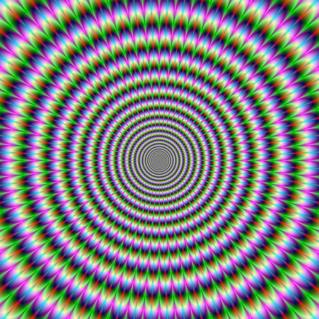 busting: Brain-Buster in Green Pink and Blue    A digital abstract fractal image with an brain busting optical illusion circular design in green, blue, red and pink. Stock Photo