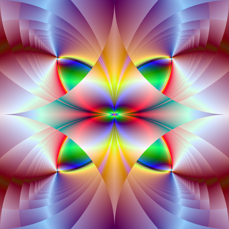 Colorful Gems   A digital abstract fractal image with a colorful geometric design in yellow, green, red, blue and pink.