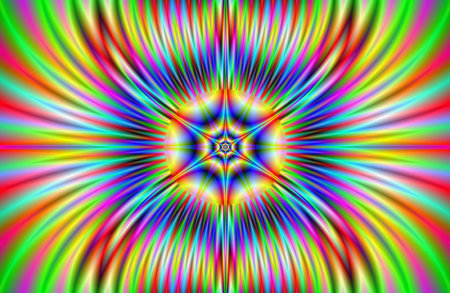 A digital abstract fractal image with a flaming star design in yellow, red, blue and green.