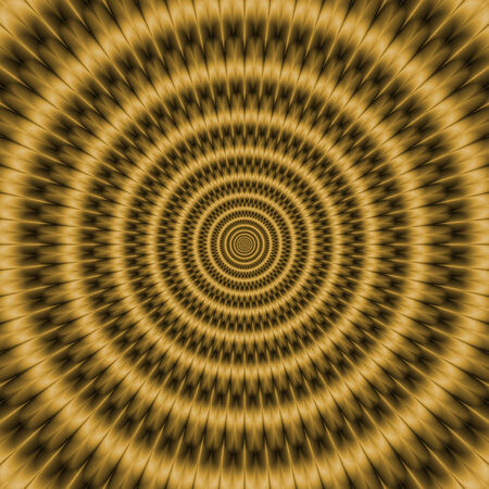 A digital abstract fractal image with an optically challenging monochrome concentric ring design in gold.