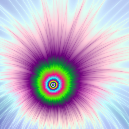 A digital abstract fractal image with a color firework explosion in green, purple pink and blue.