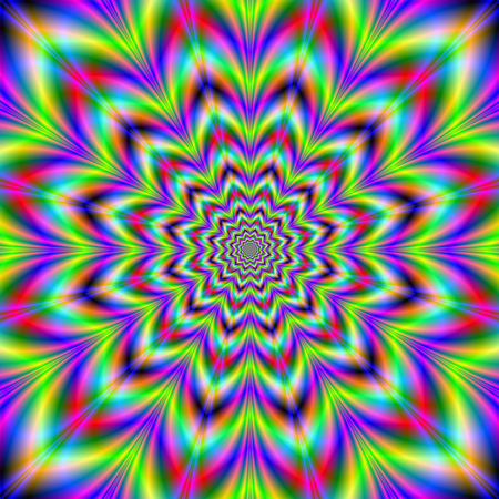 A digital abstract fractal image with a psychedelic star flower design in blue, yellow, green, pink and red.
