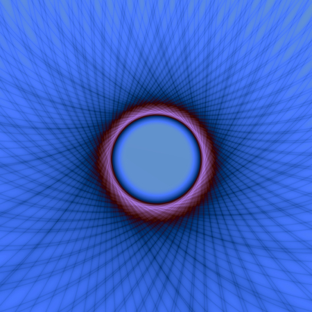 A digital abstract fractal image with a woven look window frame design in blue and purple.