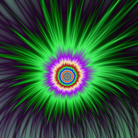 An abstract fractal image with a explosive firework design in green, violet and blue.