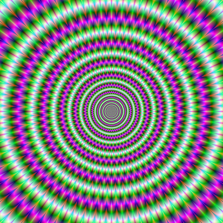 A digital abstract fractal image with an optically challenging hypnotic toothed ring design in green and pink.