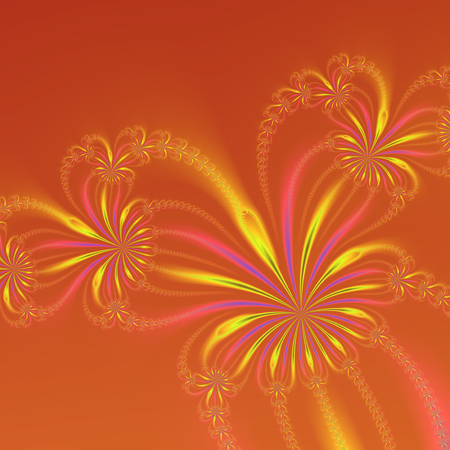 An abstract fractal image with a string of flowers design in gold blue and pink on an orange background. Zdjęcie Seryjne