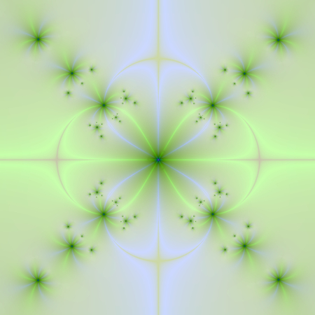 An abstract fractal image with a floral cross design in pale blue, yellow and green.