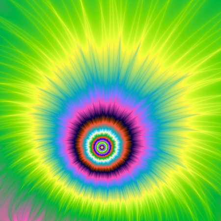 kaboom: An abstract fractal image with an explosive cartoon design in pink, blue,yellow, turquoise and green.