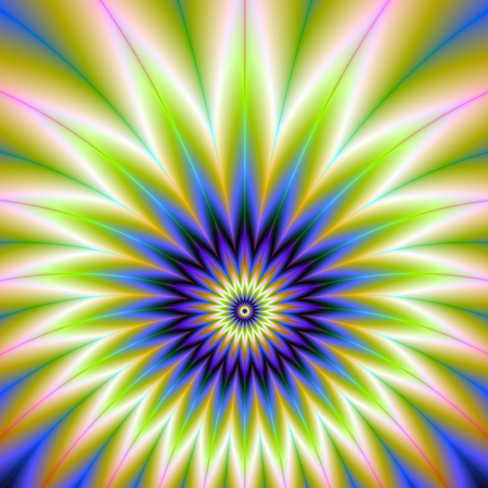 An abstract fractal image with a flower explosion design in blue, green, violet, white and peach. Zdjęcie Seryjne