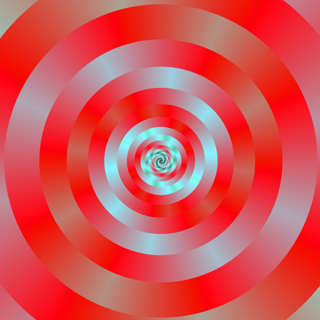 A digital abstract fractal image with a concentric ring spiral design in red and pale blue.