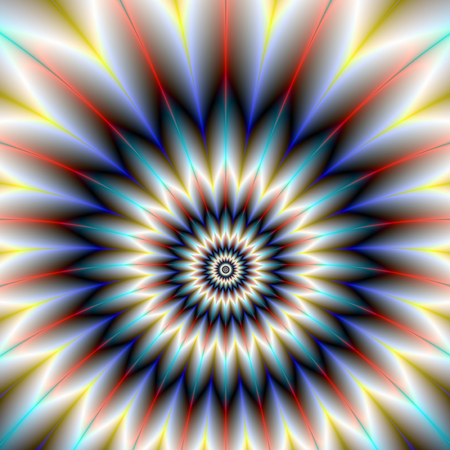 A digital abstract fractal image with a star flower design in red, white and blue. Zdjęcie Seryjne