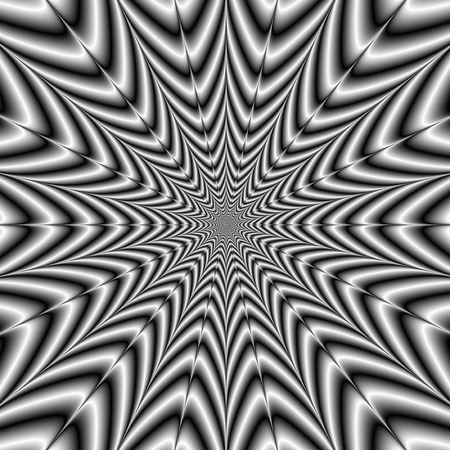 A digital abstract fractal image with an exploding star design in black and white.