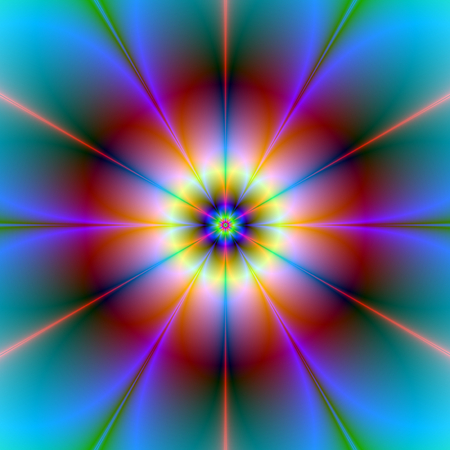 A digital abstract fractal image with a six petal flower design in red, blue, yellow and turquoise.