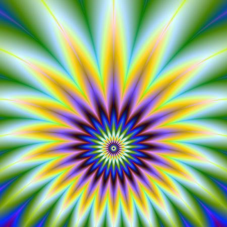 A digital abstract fractal image with a star burst design in orange violet blue and green. Zdjęcie Seryjne