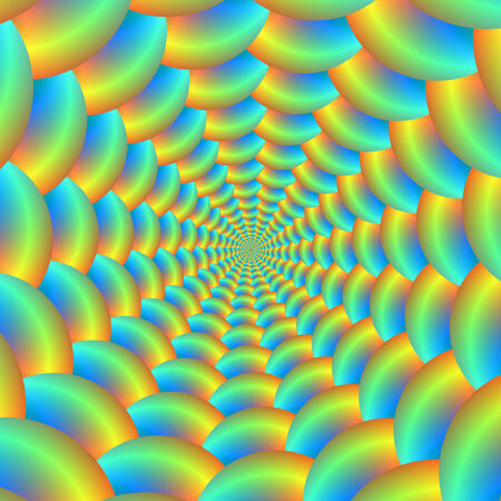 A digital abstract fractal image with a ball spiral design in blue, turquoise, orange and yellow.