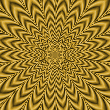 An optically challenging fractal image with an exploding geometric design in gold.