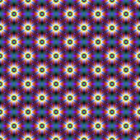 A digital abstract fractal image with a seamless  tiled flower pattern in blue and purple. Zdjęcie Seryjne