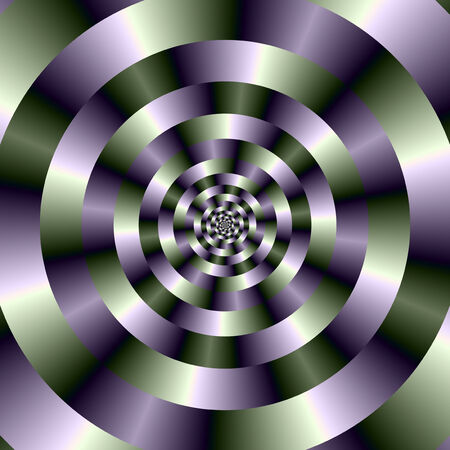 A digital abstract image with a concentric circles design in green and purple.