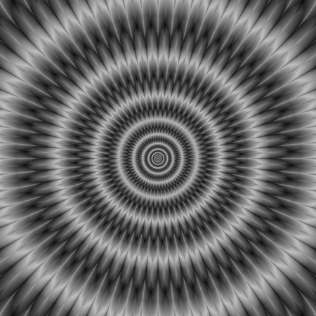A digital abstract fractal image with an optically challenging concentric circles design in black and white.
