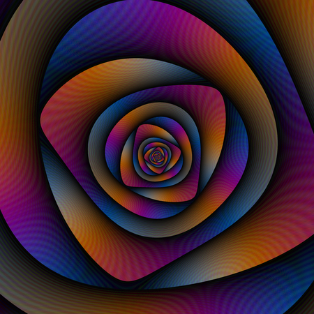 A digital abstract fractal image with a spiral labyrinth design in blue, pink and orange. Zdjęcie Seryjne