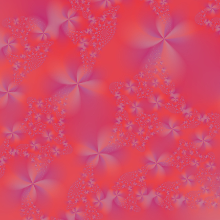 A digital abstract image with a violet flower design on a pink background.