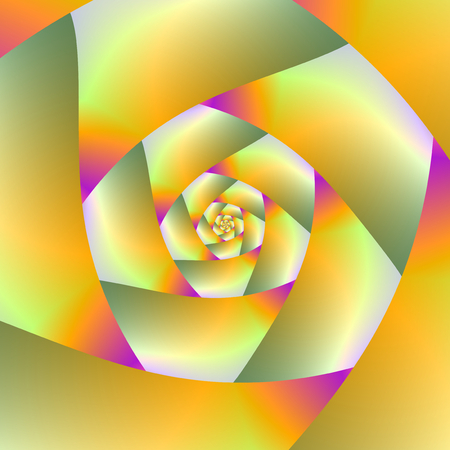 A digital abstract fractal image with a spiral design in yellow, pink, orange and olive green.