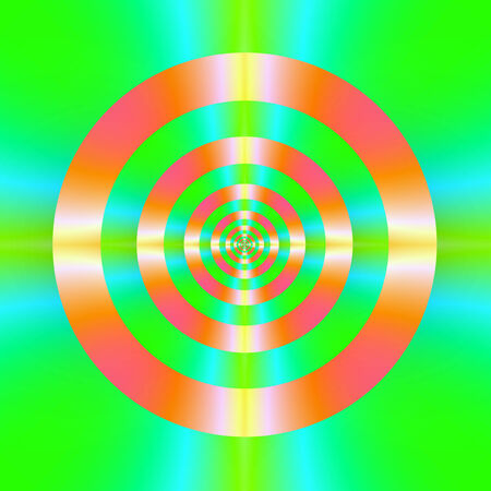 A digital abstract fractal image with a colorful target design in orange, pink, green and turquoise.