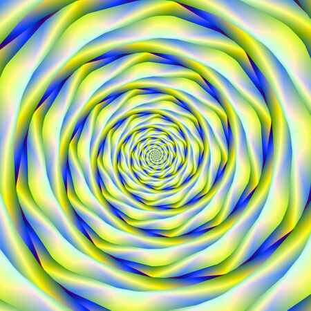 A digital abstract fractal image with a spiral design in blue and yellow.