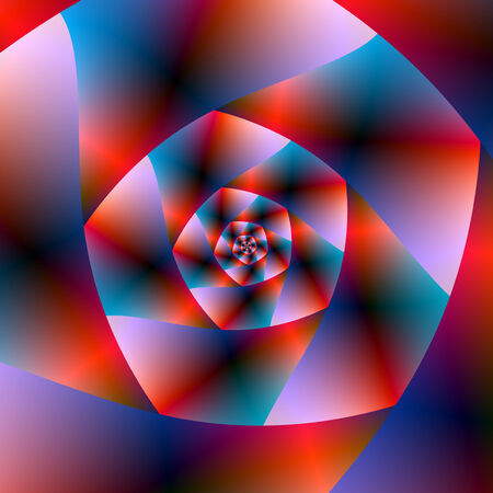 A digital abstract fractal image with a spiral design in red, blue and pink.