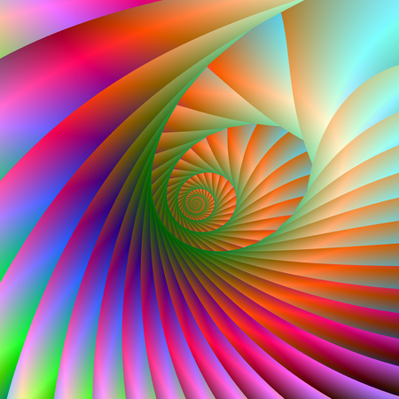 A digital abstract fractal image with a spiral design in pink, blue, orange and green.