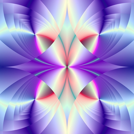 A digital abstract fractal image with a colorful geometric gem design in blue violet and white. Zdjęcie Seryjne