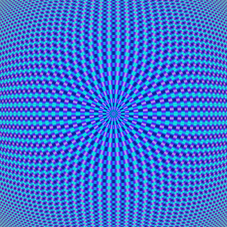 A digital abstract fractal image with a geometric circular design in shades of blue and violet.
