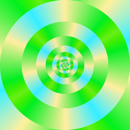 A digital abstract fractal image with a concentric ring pattern in green, blue and yellow. Zdjęcie Seryjne