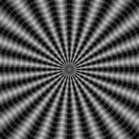 A digital abstract fractal image with an optically challenging rippling ray design in black and white.